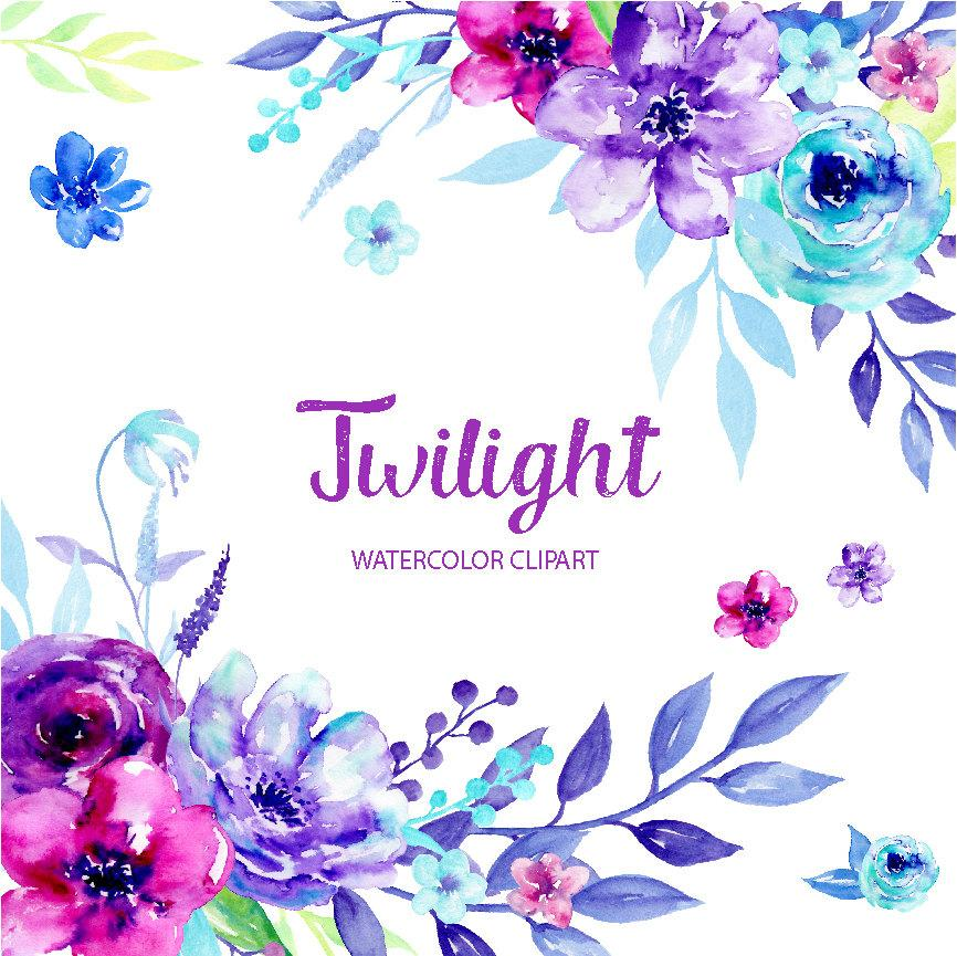 Blue and purple clipart black and white library Watercolor Clipart Twilight, blue and purple flowers, ultra violet flowers  for instant download black and white library