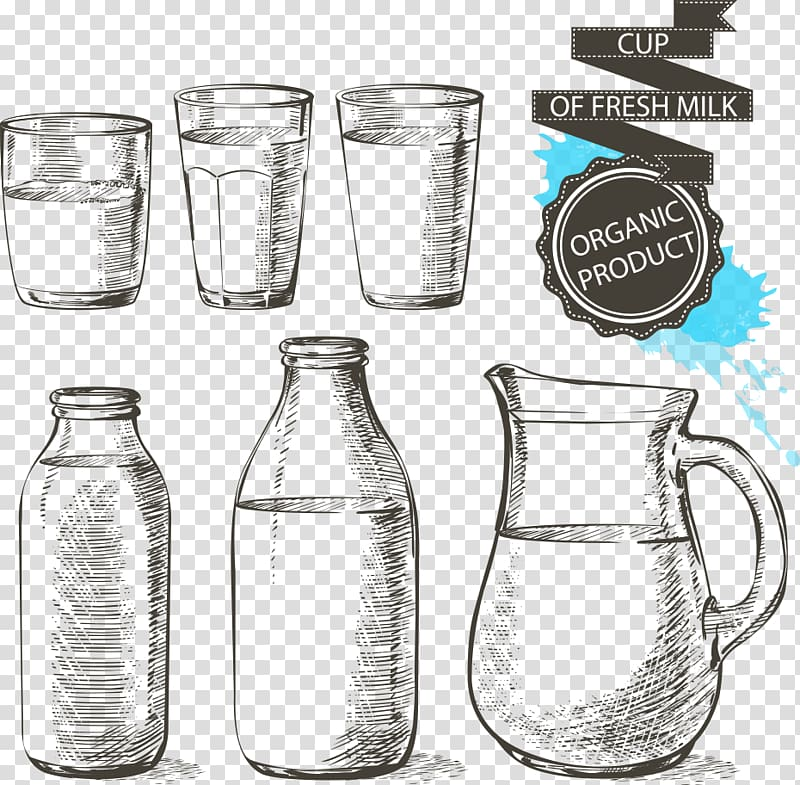 Blue and white pitcher png clipart vector png library Milk Bottle Drawing Glass, ribbon and glass transparent background ... png library