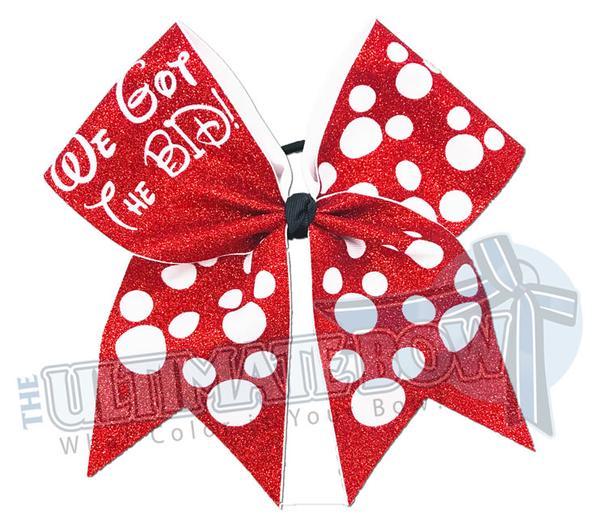 Blue and white polka dot hair bow clipart vector library We Got the Bid - Full Glitter Polka Dots Cheer Bow | Cheerleading Hair Bow  | Orlando Bow vector library