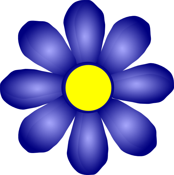 Blue and yellow flower clipart png library library Blue Flower Clip Art at Clker.com - vector clip art online, royalty ... png library library