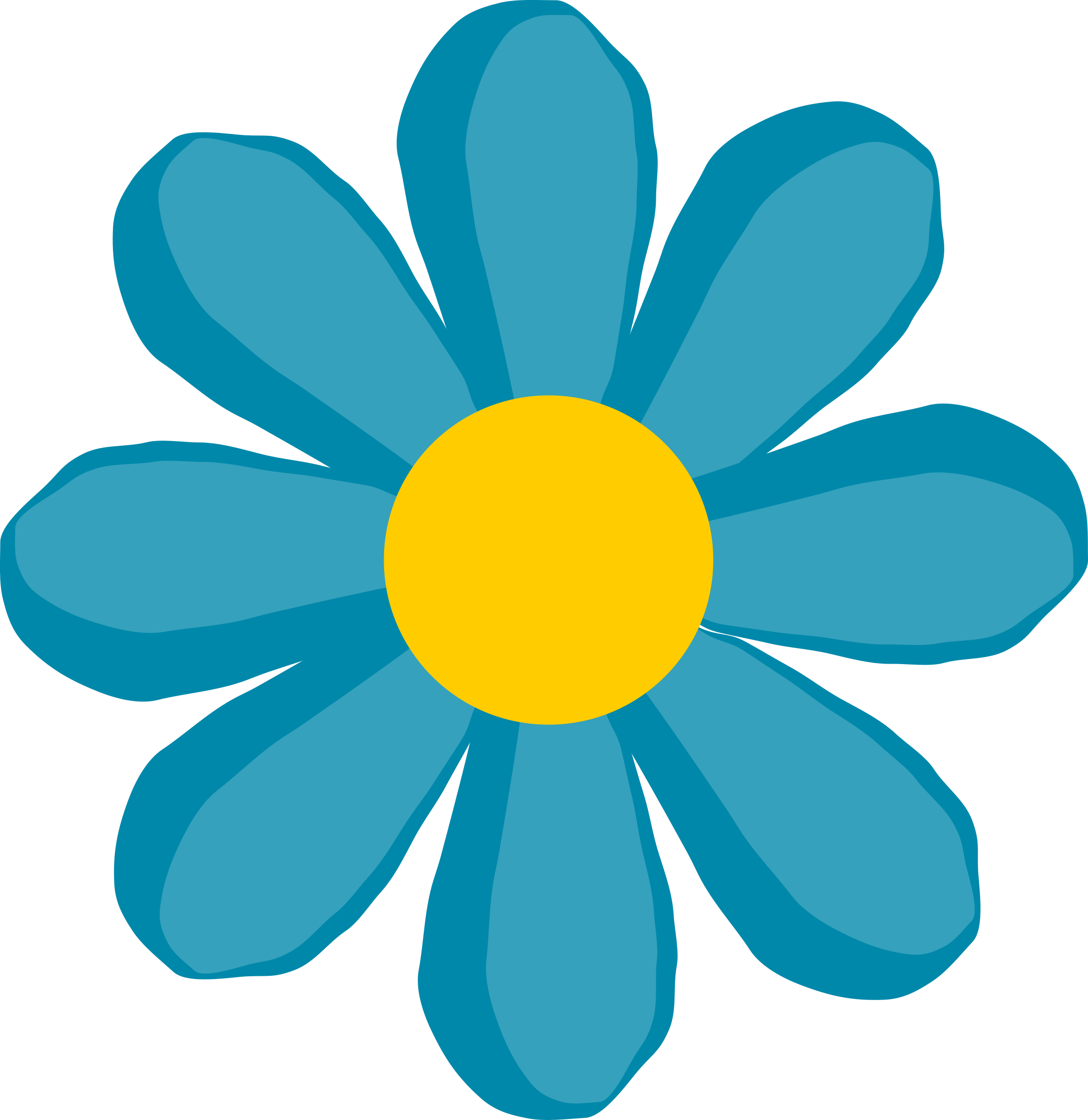 Blue and yellow flower clipart royalty free Clipart - Blue flower royalty free