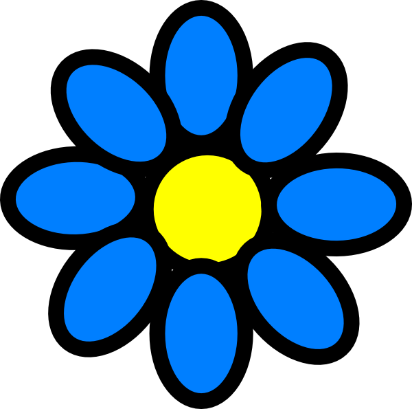 Blue and yellow flower clipart clip art free stock Sky Blue Flower Clip Art at Clker.com - vector clip art online ... clip art free stock