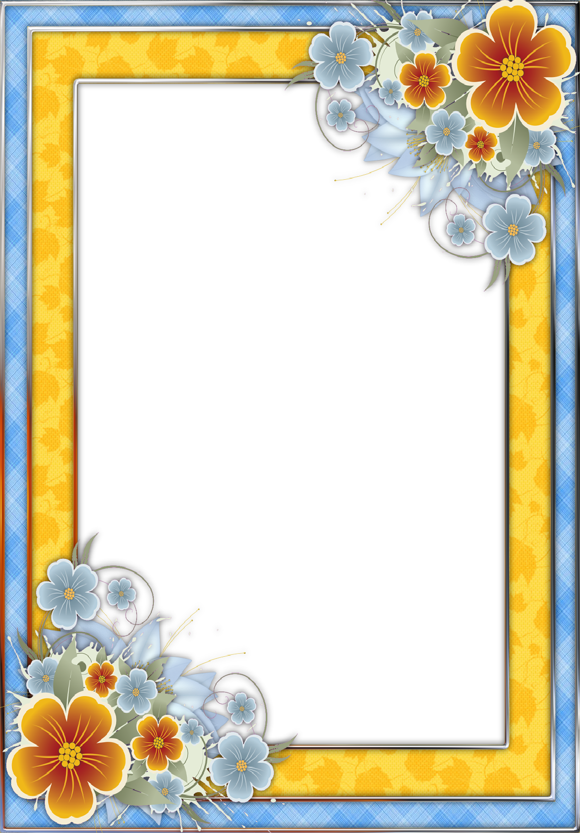 Blue and yellow flower clipart image download Blue and Yellow Transparent PNG Frame with Flowers | Gallery ... image download