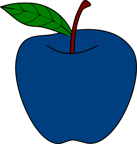 Blue apple clipart black and white Blue Apple A1 Clip Art at Clker.com - vector clip art online ... black and white