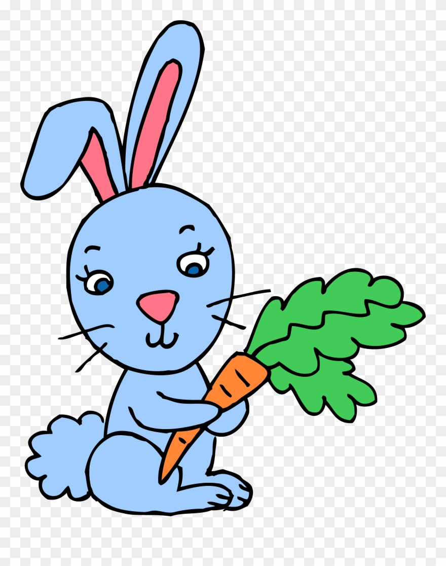 Blue bunny logo clipart svg library library Blue Bunny Rabbit With Carrot Free Clip Art - Spring Clip Art Bunny ... svg library library