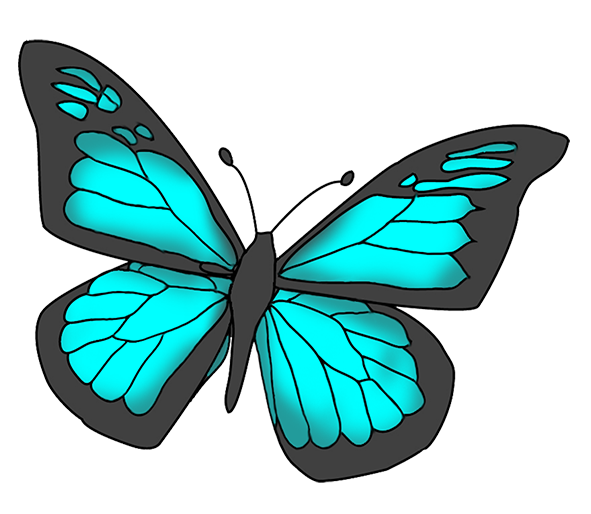 Blue butterfly images clipart vector transparent Blue and black colored butterfly clipart   Grandkids in 2019 ... vector transparent