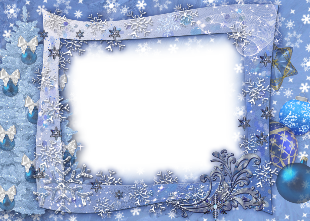 Silver & gold snowflake border clipart vector royalty free library Blue Transparent Christmas Photo Frame with Snowflakesl | Gallery ... vector royalty free library