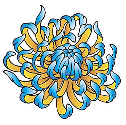 Blue chrysanthemum clipart image black and white library Amazon.com: Tattoo Style Blue Chrysanthemum Mum Flower Vinyl Decal ... image black and white library
