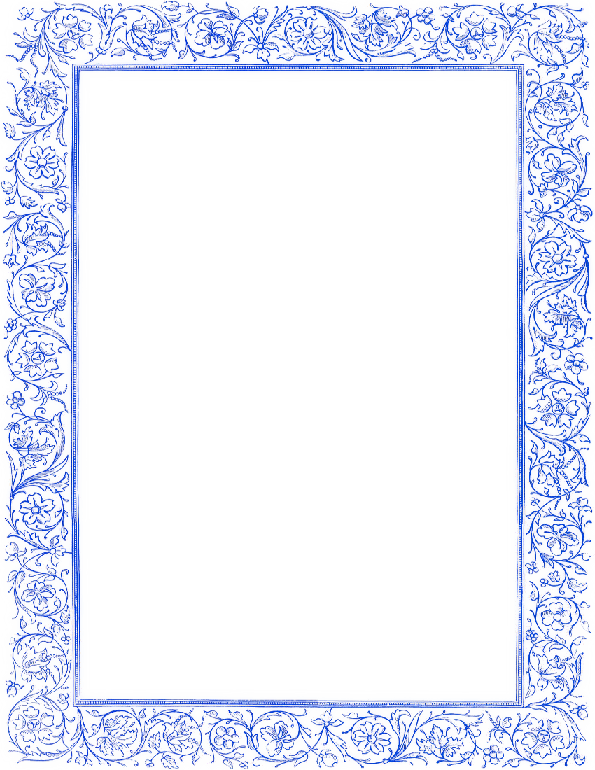 Blue clipart borders png black and white library Victorian Floral Border Blue Clip Art Download - ClipArt Best ... png black and white library