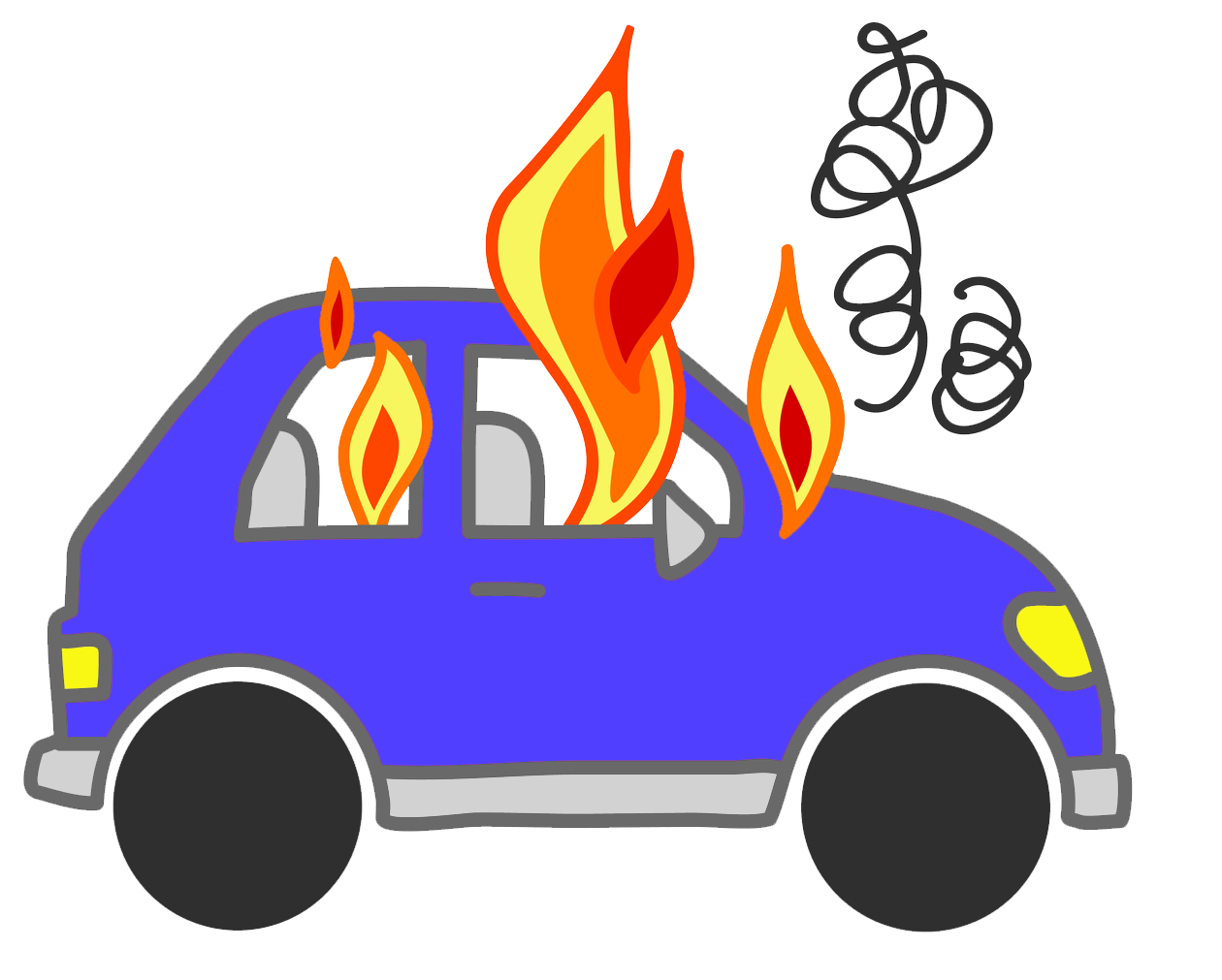 Car with smoke clipart image black and white Cars On Fire Clipart - NOXAD.ORG image black and white