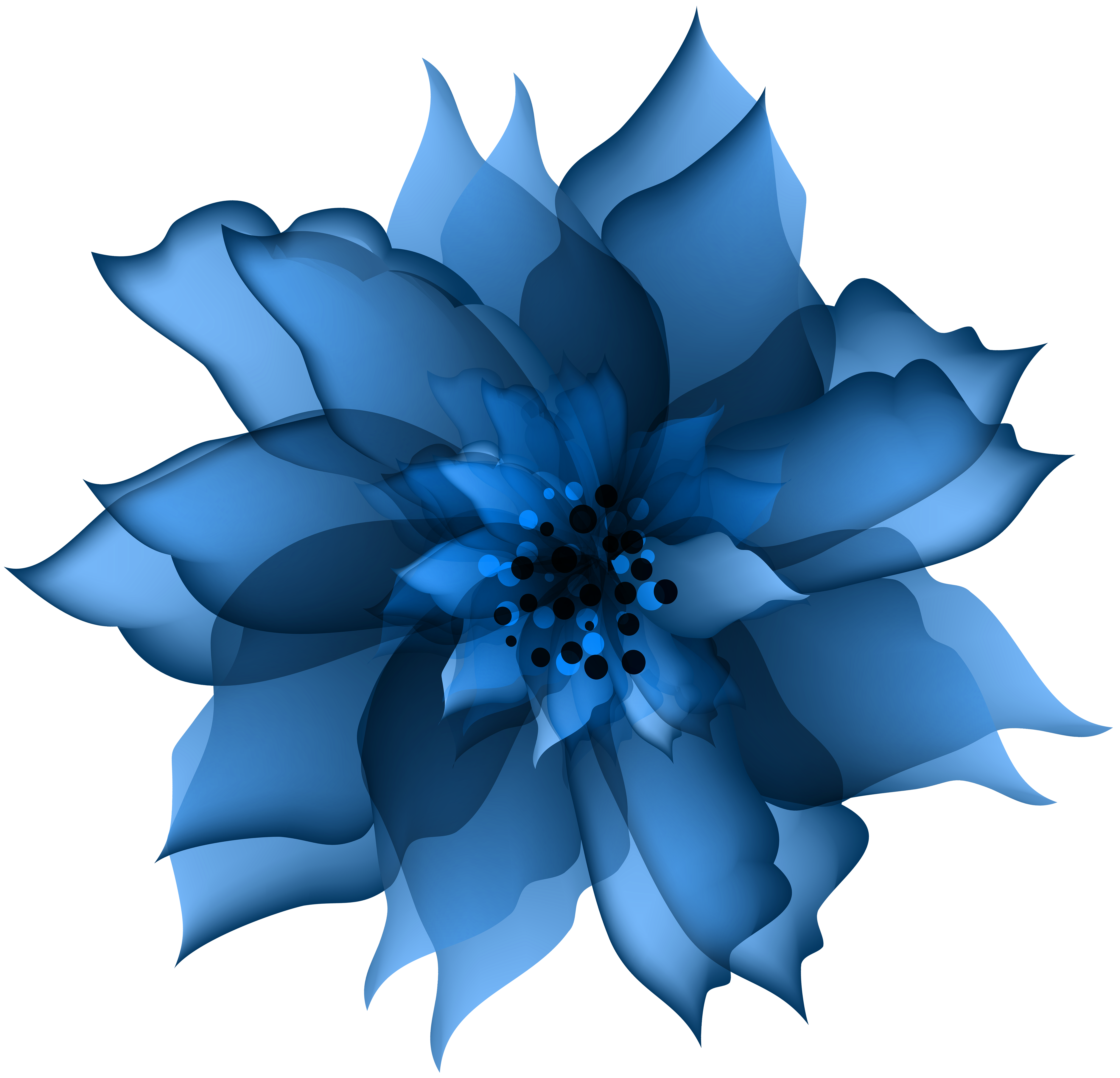 Clipart flower blue svg black and white Decorative Flower Blue Transparent PNG Clip Art | Gallery ... svg black and white
