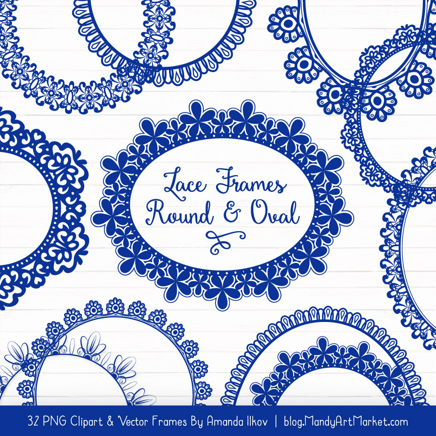 Blue clipart patterns picture free Royal Blue Round Digital Lace Frames Clipart picture free