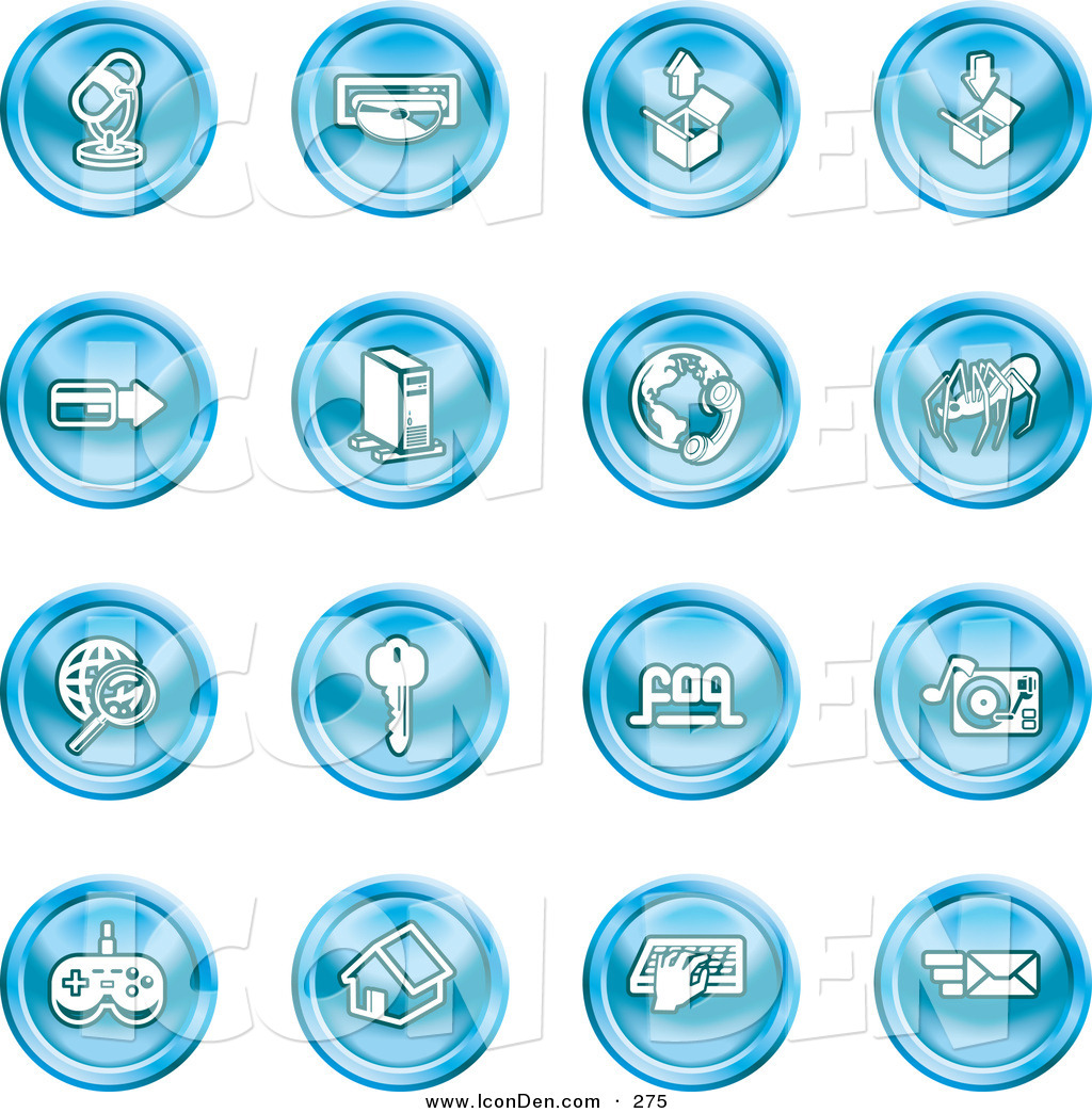 Blue contact set cliparts picture library library Clip Art of a Set of 16 Blue Entertainment Icons of a Microphone ... picture library library
