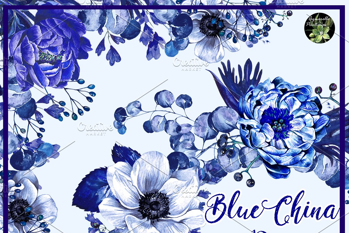 Blue contact set cliparts clip transparent library Blue China set 10 watercolor clipart ~ Illustrations ~ Creative Market clip transparent library