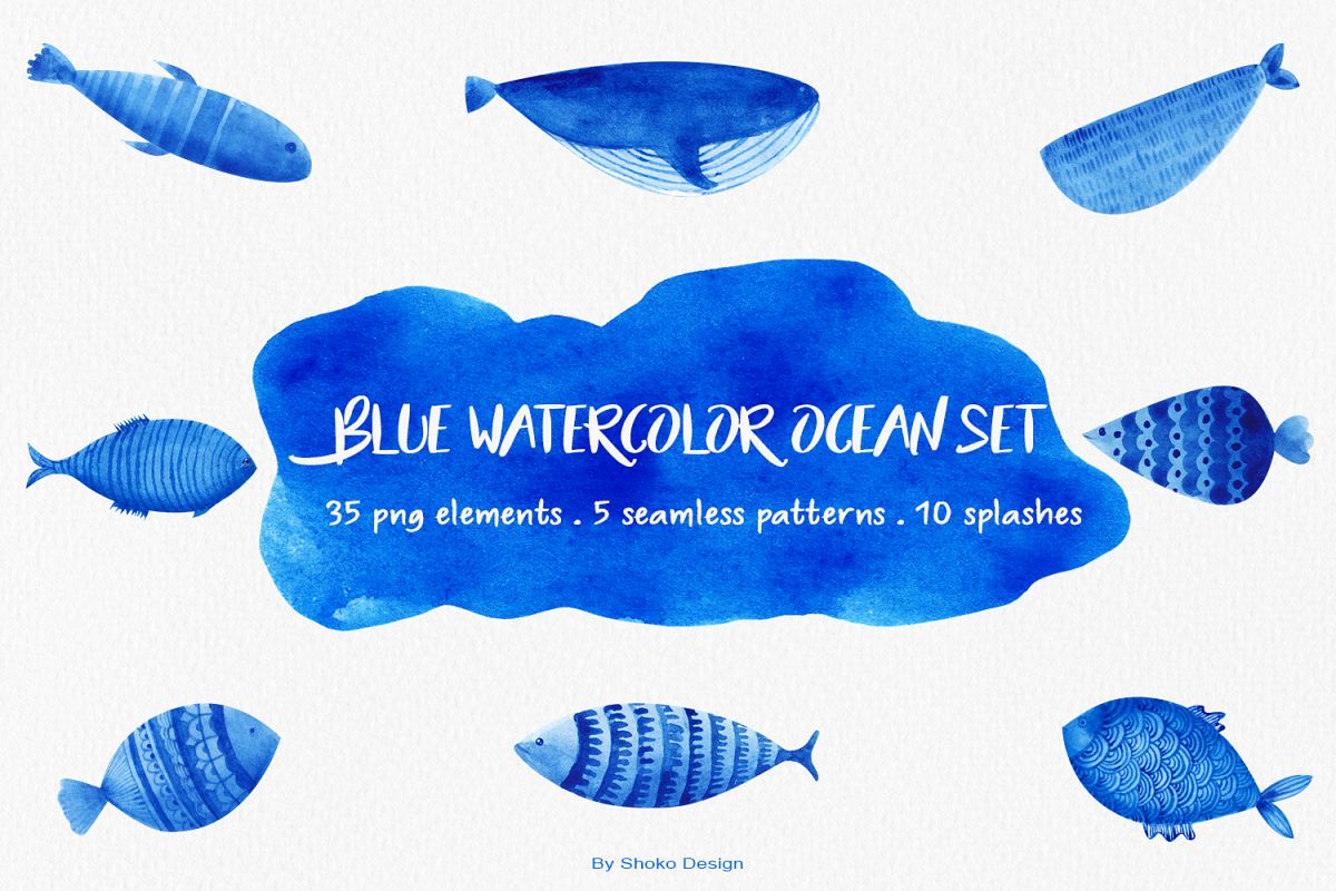 Blue contact set cliparts image library library Blue Watercolor ocean elements set Png illustrations clipart image library library