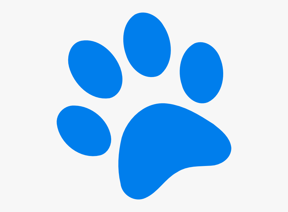 Blue dog print clipart