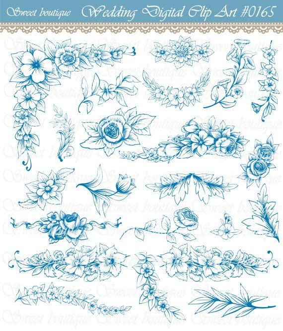 Blue elegant glitter corner clipart jpg black and white Navy blue flower, Flower clipart, Floral digital clipart, Digital ... jpg black and white