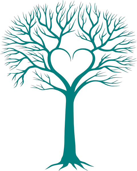 Family reunion tree with hands at bottom clipart