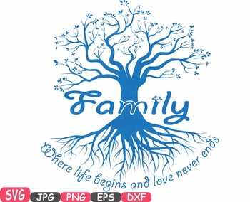 Clipart love family graphic library Family tree Word Art SVG clip art love never ends Tree Deep Roots quote  -419S graphic library