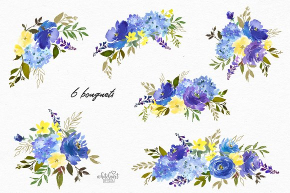 Watercolor floral cliparts stock Royal Blue Watercolor Floral Clipart stock
