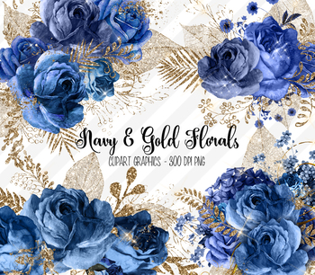 Navy flowers clipart clipart transparent download Navy Blue and Gold Glitter Floral Clipart, vintage watercolor flowers clipart transparent download