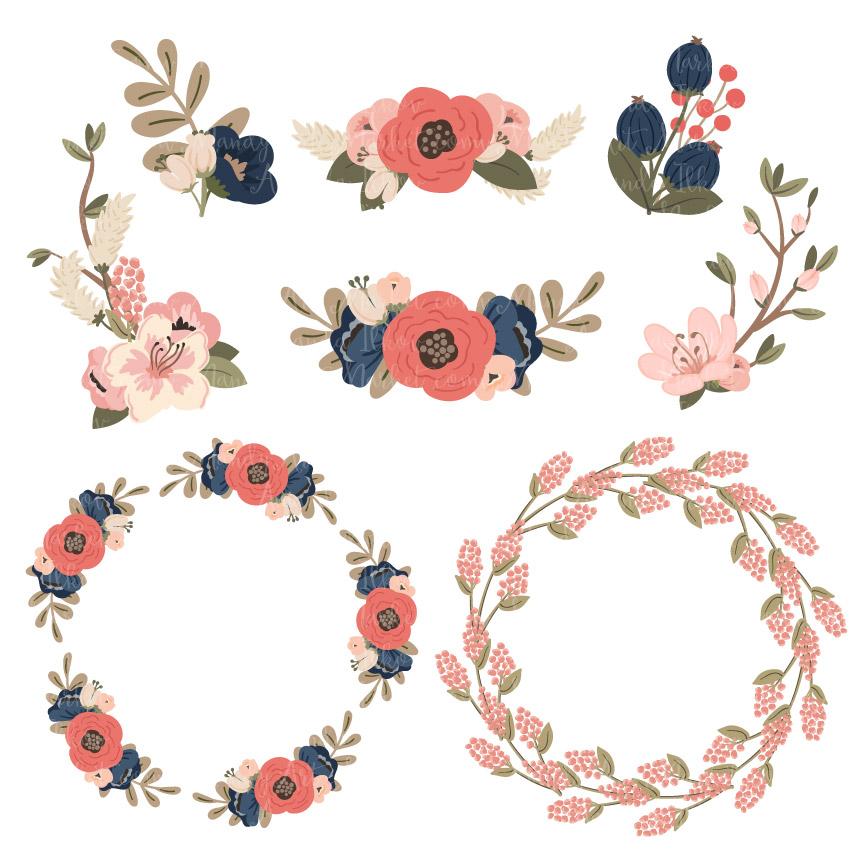 Blush navy and white wedding flower clipart jpg royalty free library Navy & Blush Jenny Pretty Floral Wreath Clipart & Vectors jpg royalty free library