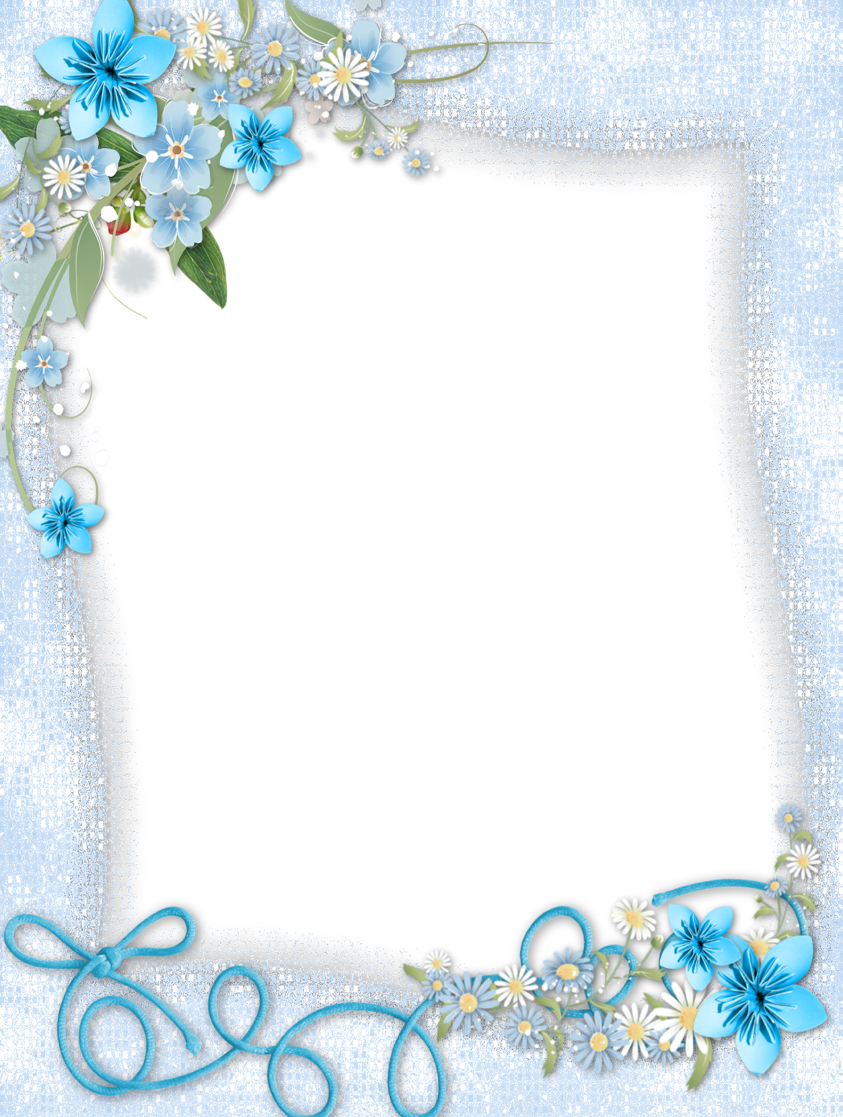 Blue flower border clipart graphic free stock Transparent Blue PNG Frame with Flowers | Frames | Pinterest ... graphic free stock