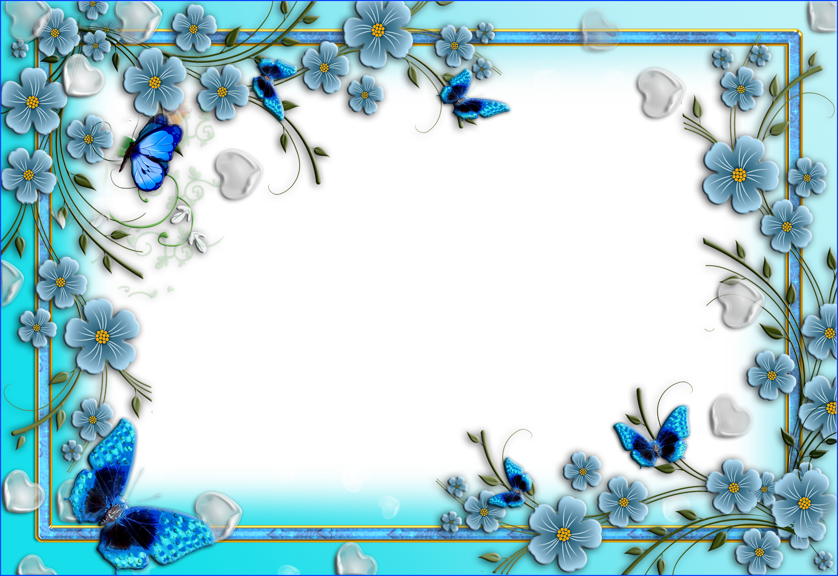 Blue flower border clipart banner freeuse stock Blue Flowers Transparent PNG Photo Frame with Hearts and Butterflies ... banner freeuse stock