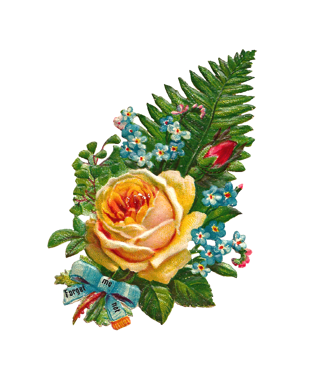 Blue flower bouquet clipart graphic free Antique Images: Free Digital Flower Clip Art: Yellow Rose and Forget ... graphic free