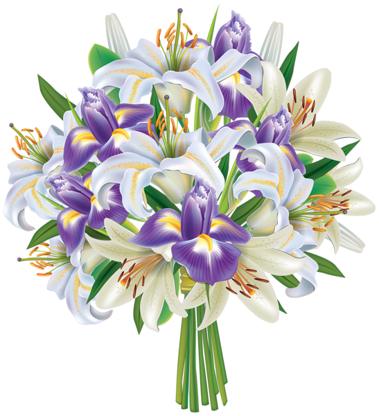 Flower bouquet clipart download Purple Iris Flowers and Lilies Bouquet PNG Clipart Image ... download