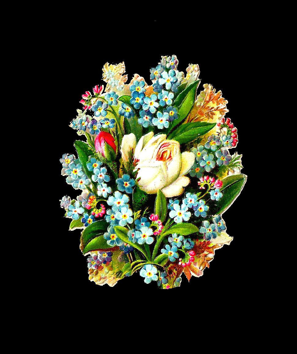 Blue flower bouquet clipart png black and white download Antique Images: Free Digital Flower Clip Art: Graphic of White Rose ... png black and white download