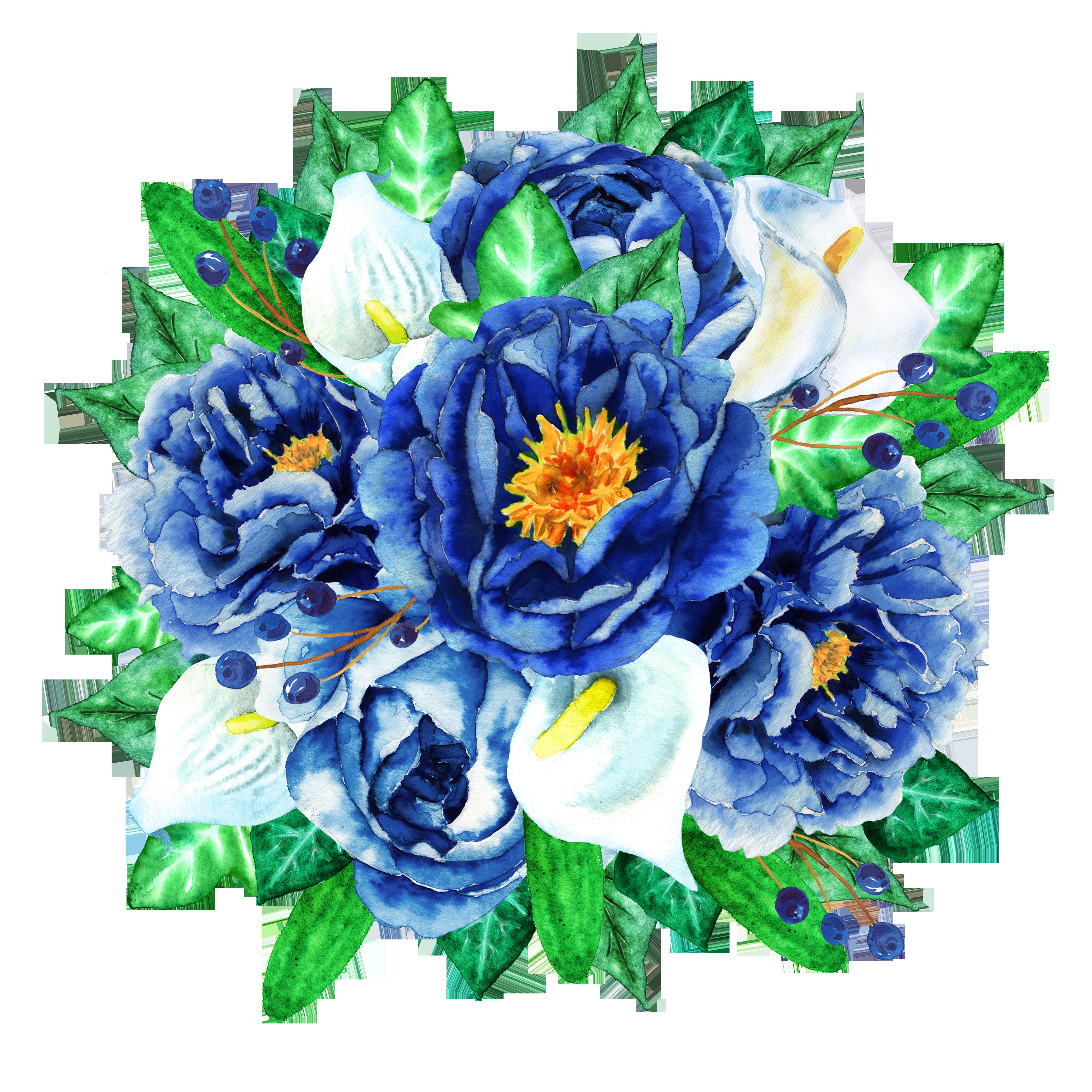 Blue flower bouquet clipart picture royalty free download Watercolour Flowers Flower bouquet Clip art - Blue Flower Bouquet ... picture royalty free download