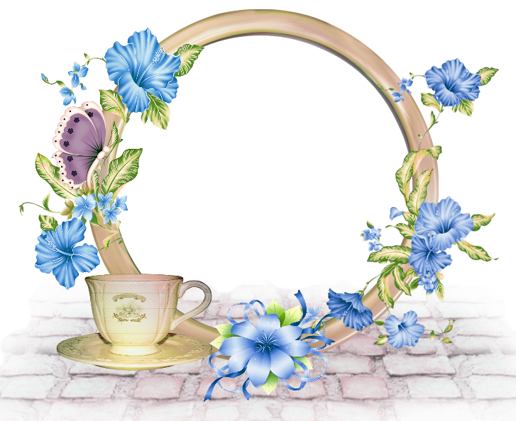Blue flower clipart borders clipart transparent library Cute Round PNG-Photo Frame with Blue Flowers | Gallery Yopriceville ... clipart transparent library