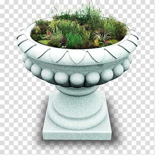 Blue flower pot clipart banner transparent download White concrete pot with green grasses, flowerpot grass urn artifact ... banner transparent download