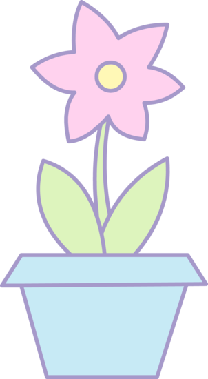 Blue flower pot clipart vector library Cute Pink Flower in Blue Pot - Free Clip Art - Clip Art Library vector library