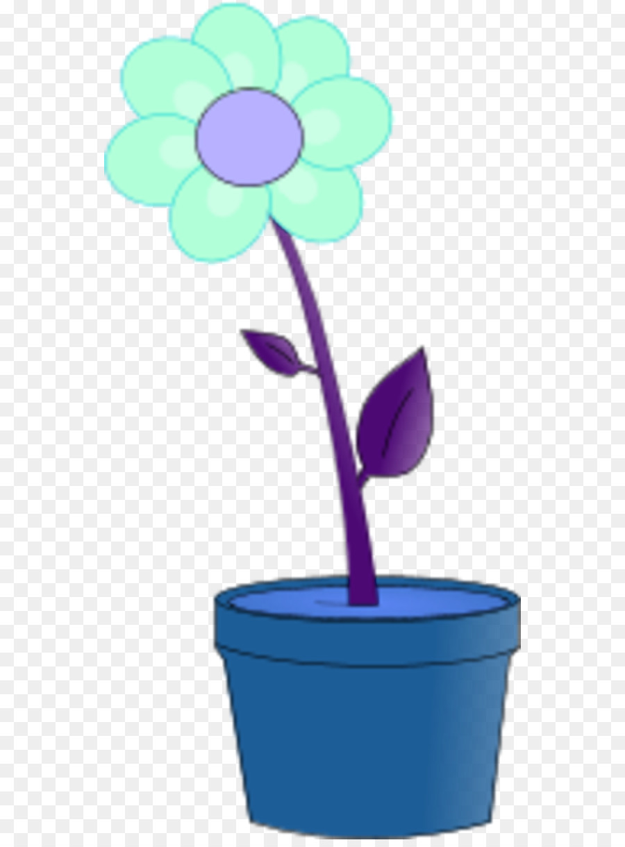 Blue flower pot clipart image royalty free download Blue Flower png download - 600*1209 - Free Transparent Flowerpot png ... image royalty free download