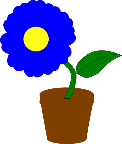 Blue flower pot clipart svg black and white stock Blue Flower Clip Art at Clker.com - vector clip art online, royalty ... svg black and white stock