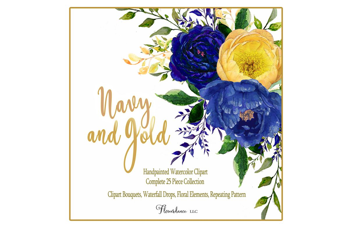 Gold floral clipart download Watercolor Navy and Gold Floral Clipart 32 Piece Bundle download