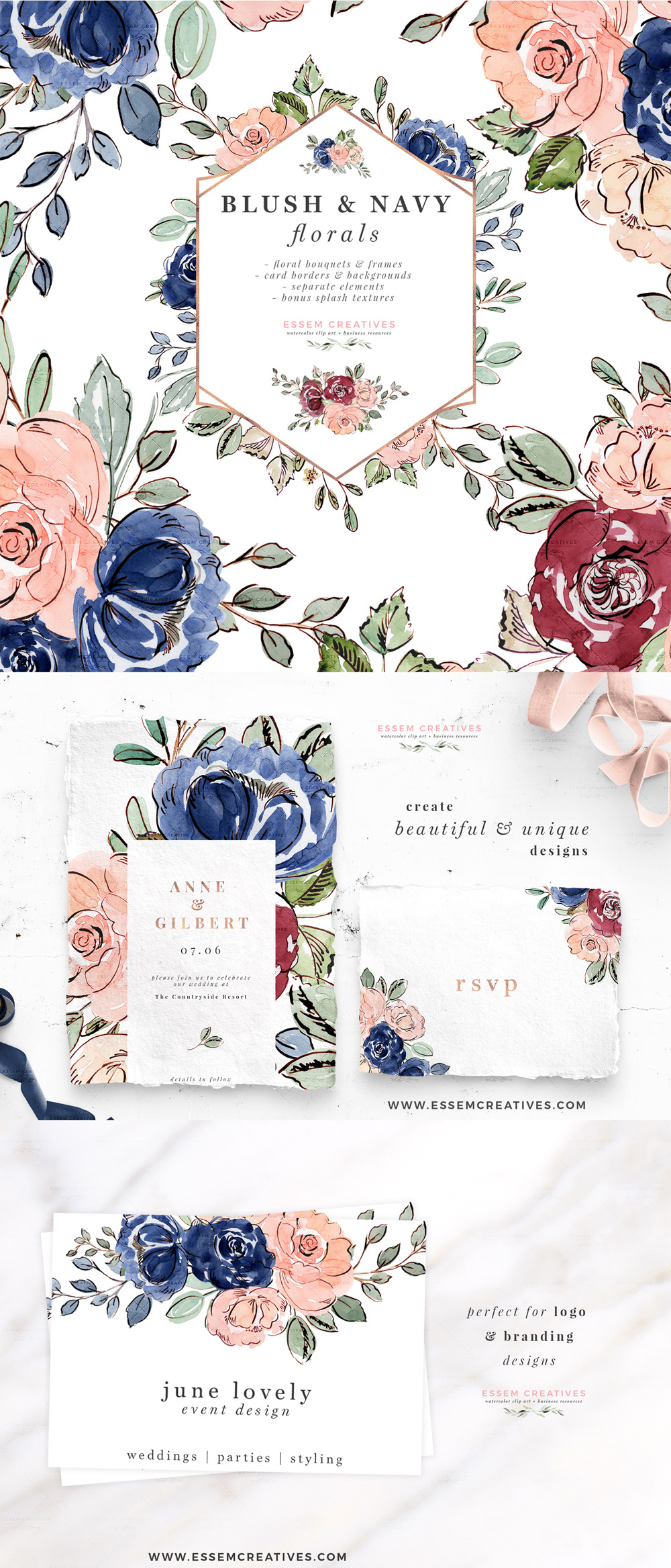 Library Of Watercolor Navy Blue And Rose Blush Flower Jpg Black