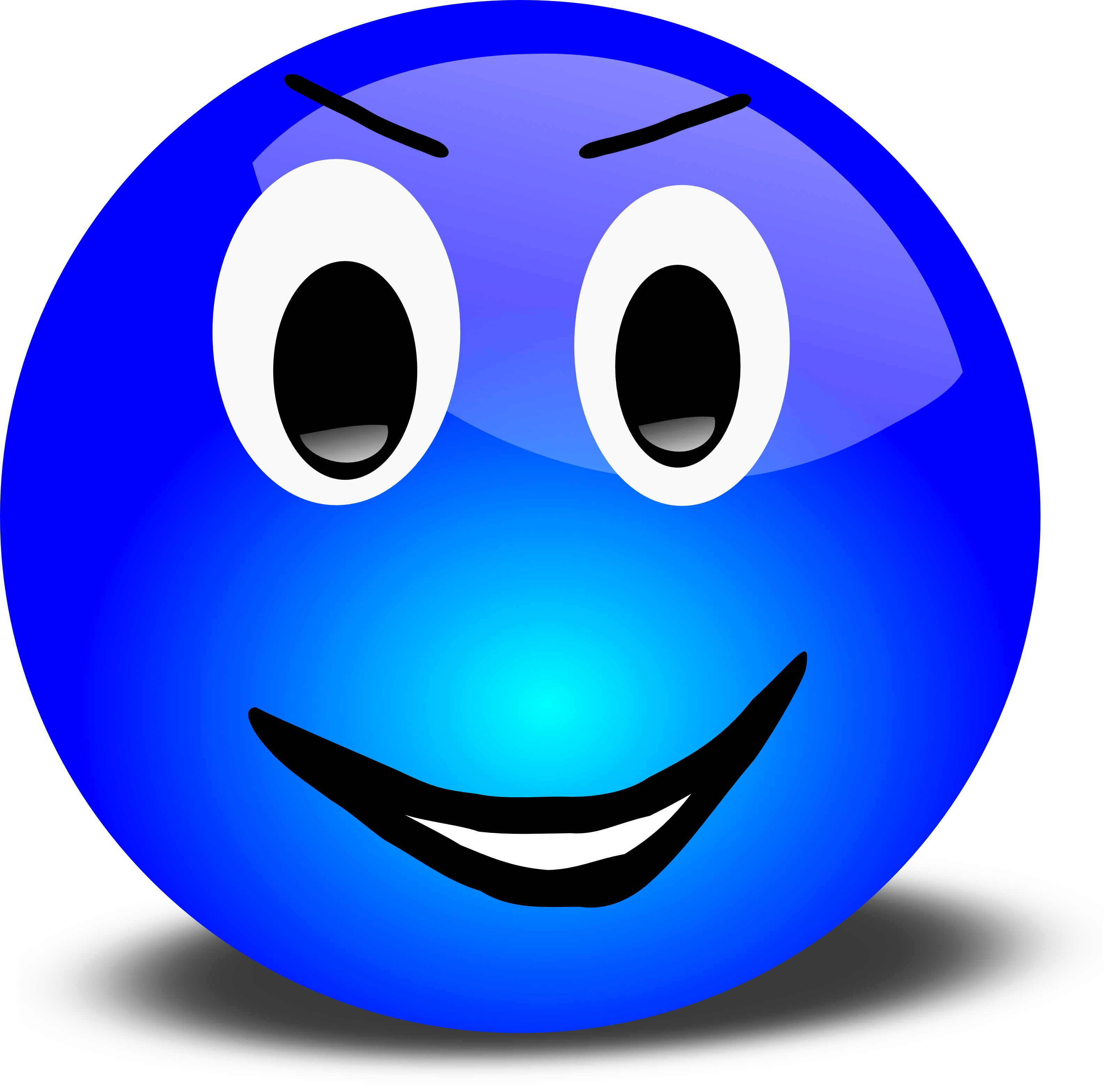 Blue happy face clipart image royalty free stock Free 3d Grinning Blue Smiley Face Clipart Illustration by Picsburg ... image royalty free stock