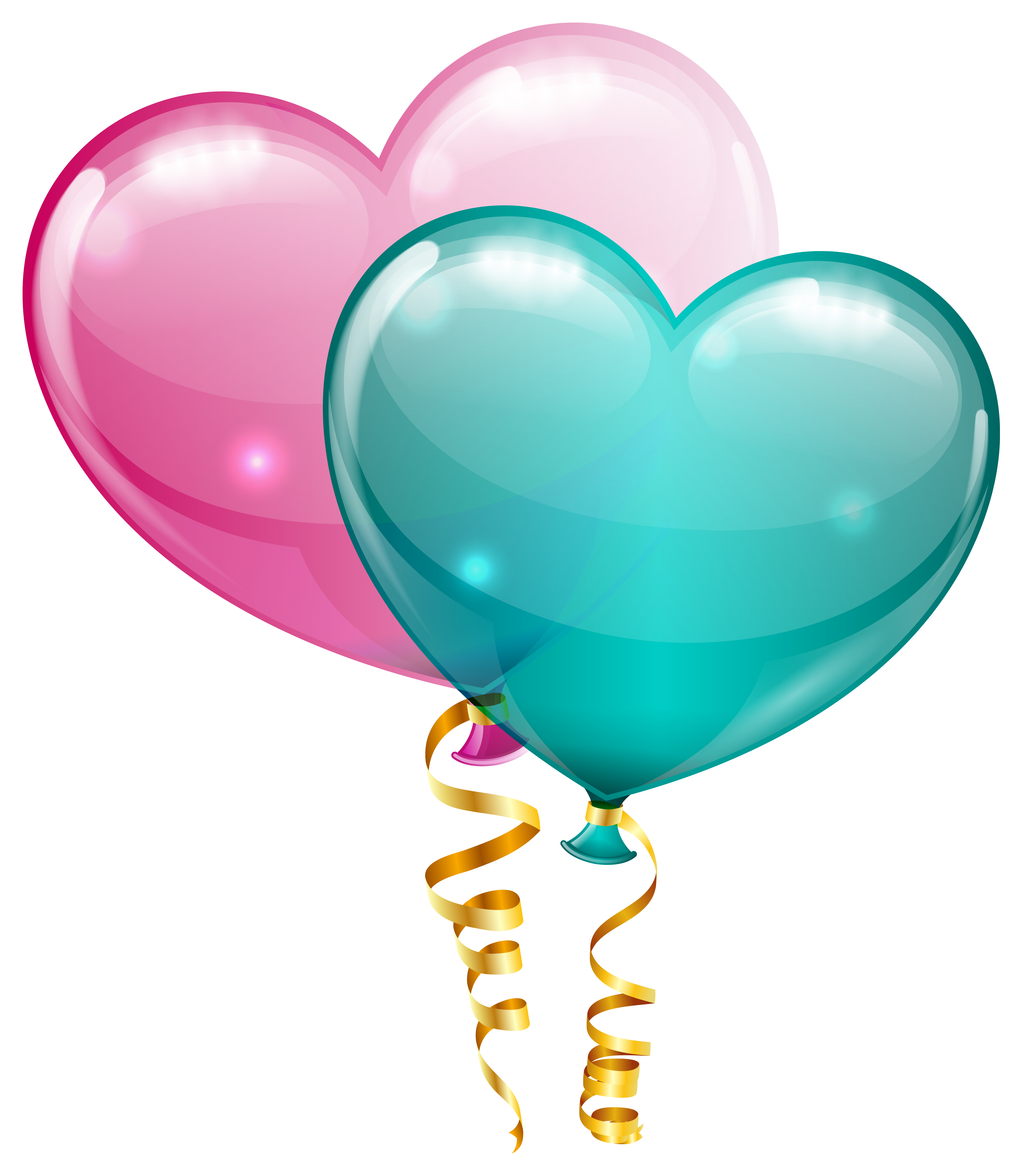 Blue heart clipart transparent banner black and white download Pink and Blue Heart Balloons PNG Clipart Image | Gallery ... banner black and white download