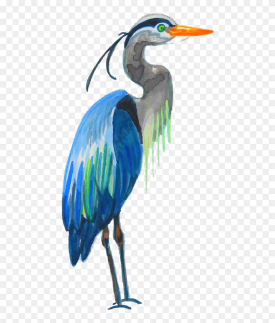 Blue heron pictures clipart graphic black and white library Watercolor Great Blue Heron Clipart (#2465466) - PinClipart graphic black and white library