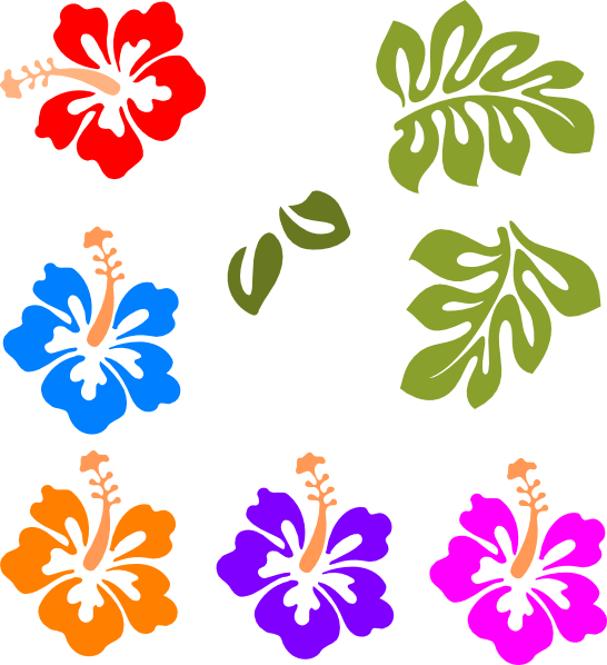 Tropical sun clipart free clipart black and white library Hawaiian Flower Clip Art | Tropical Mix clip art - vector clip art ... clipart black and white library