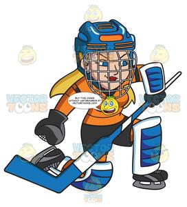 Blue hockey helmet clipart graphic royalty free stock A Female Hockey Goaltender Prepares To Block A Puck graphic royalty free stock