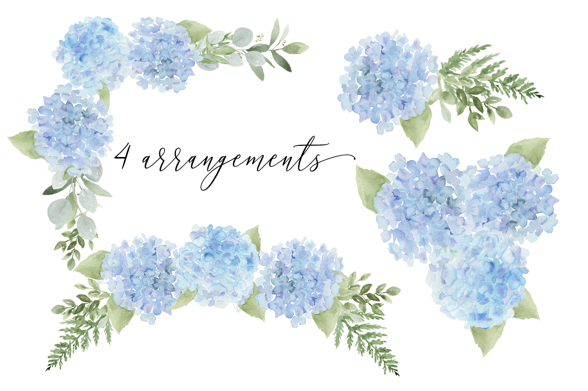 Blue hydrangea clipart free clip transparent Watercolor Blue Hydrangea Clip Art Bundle clip transparent