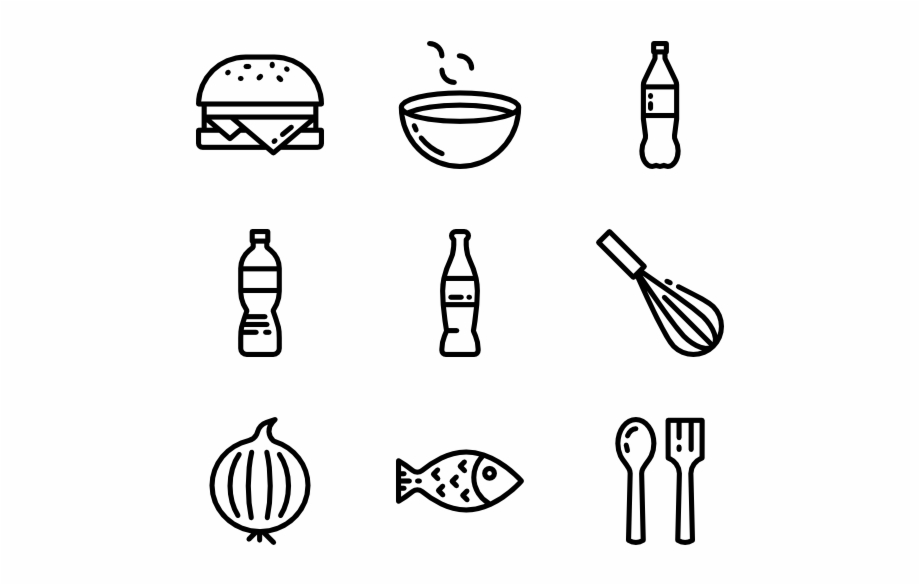 Blue line resturant clipart black and white banner transparent Food And Restaurant Food Line Icon Png - Clip Art Library banner transparent