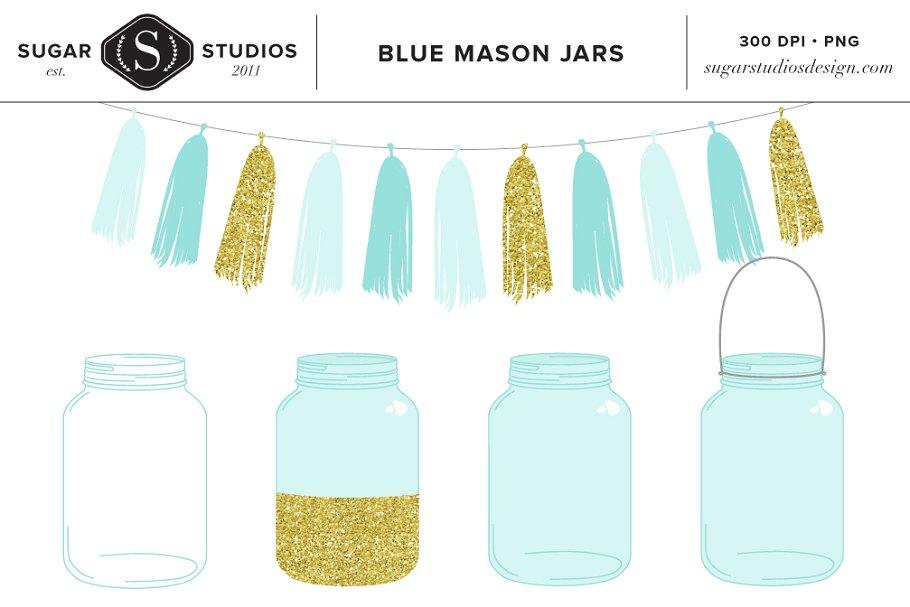 Blue mason jar clipart clip art freeuse Blue Mason Jars with Tassel Clip Art clip art freeuse