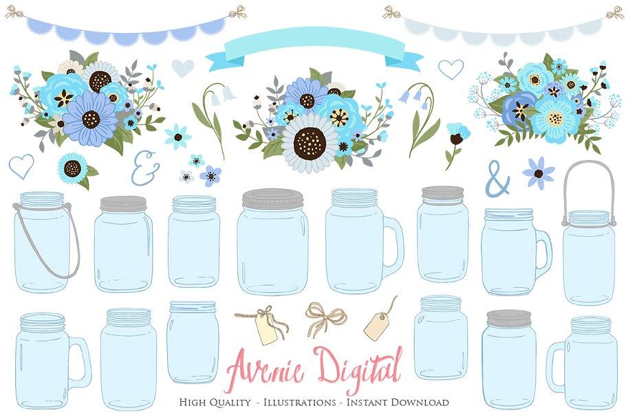 Blue mason jar clipart clipart transparent download Blue and Gray Mason Jar Clipart clipart transparent download