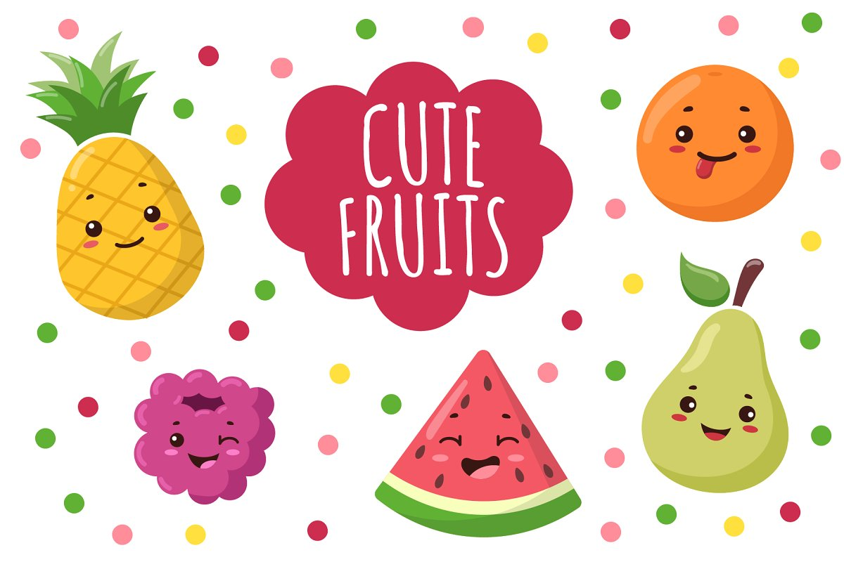 Blue melon clipart kawaii