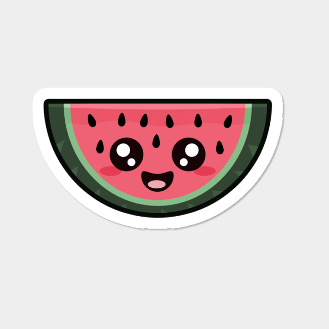 Blue melon clipart kawaii jpg royalty free Kawaii Watermelon Sticker By NirP Design By Humans jpg royalty free